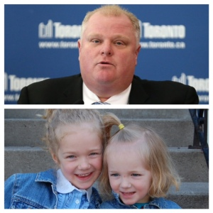 Rob Ford juxtaposed with some incredibly good-looking children